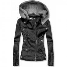Černá koženková bunda s kapucí