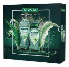 Palmolive Purifying Clay sprchový gel s jílem 250 ml + tekuté mýdlo dávkovač 250 ml dárková sada