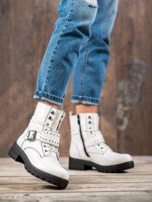 Designové dámské bílé  kotníčkové boty na plochém podpatku