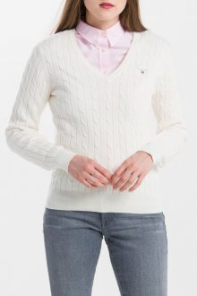 SVETR GANT STRETCH COTTON CABLE V-NECK