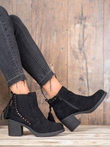 Komfortní dámské  kotníčkové boty černé na širokém podpatku