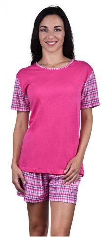 Evona Dámské krátké pyžamo LINDA růžové káro L