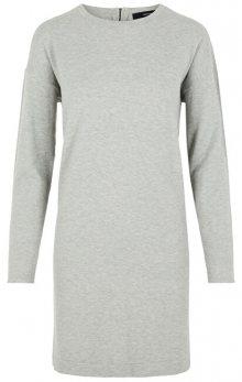 Vero Moda Dámské šaty VMHAPPY BASIC LS ZIPPER DRESS COLOR Light Grey Melange XS