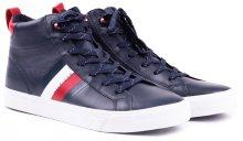 Tommy Hilfiger modré pánské kožené tenisky Flag Detail Leather Sneaker High Midnight - 40
