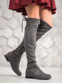 Moderní dámské šedo-stříbrné  kozačky na plochém podpatku