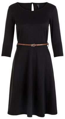 Vero Moda Dámské šaty VMVIGGA FLAIR 3/4 SLEEVE DRESS Black XS