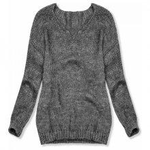 Grafitový pletený pulovr