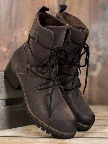 Jedinečné dámské šedo-stříbrné  kotníčkové boty na širokém podpatku