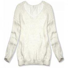 Bílý pletený pulovr