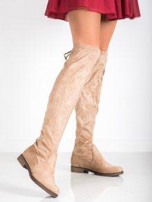 Trendy dámské hnědé  kozačky na plochém podpatku
