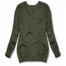 Khaki pletený pulovr
