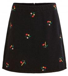 Vila Dámská sukně VIDAHLA HW NEW EMB DENIM SKIRT/L Black Embroidery M