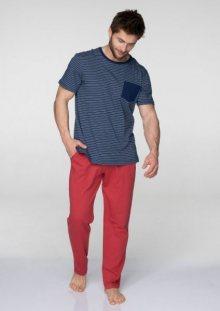 Key MNS 385 B19 Pánské pyžamo XXL tmavě modrá-červená