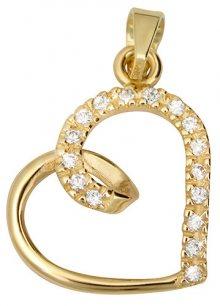 Brilio Zlatý přívěsek s krystaly Srdce 249 001 00451