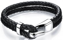 Troli Černý kožený náramek s ocelovým hákem Leather