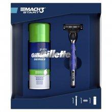 Gillette Mach 3 Start holící strojek + 1 náhradní hlavice + Sensitive pěna na holení 100 ml dárková sada