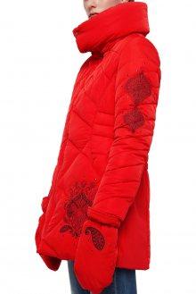 Desigual červená bunda Padded Suluk s rukavicemi - 36