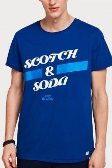 Scotch & Soda modré pánské tričko Logo Art - XL