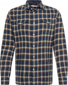 KnowledgeCotton Apparel Košile \'Flannel Checked Shirt\' tmavě modrá / oranžová / bílá