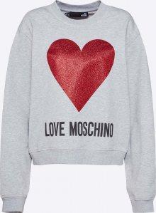 Love Moschino Mikina \'FELPA GIROCOLLO ST.CUORE LOGO\' šedá