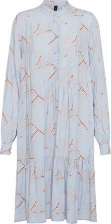 Y.A.S Košilové šaty \'YASWAVES LS DRESS\' kouřově modrá / rezavě hnědá
