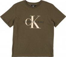 Calvin Klein Jeans Tričko \'MONOGRAM SS T-SHIRT\' khaki