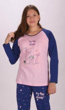 Dětské pyžamo dlouhé vienetta Secret Malí králíci | banánová | 13 - 14
