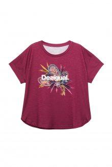 Desigual vínové sportovní tričko TS Tee Oversize Ethnic s barevným logem - M