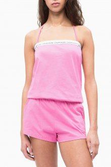 Calvin Klein růžový overal Bandeau Romper Phlox Pink - L