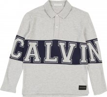 Calvin Klein Jeans Tričko \'VARSITY LS POLO\' šedý melír / černá