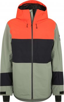QUIKSILVER Sportovní bunda \'SYCAMORE\' zelená / oranžově červená / černá