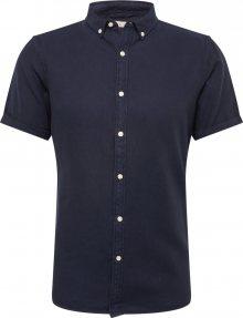 KnowledgeCotton Apparel Košile \'Short sleece twill shirt/Vegan\' noční modrá