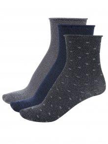 Sada tří párů třpytivých holčičích ponožek v šedé a modré barvě Name it