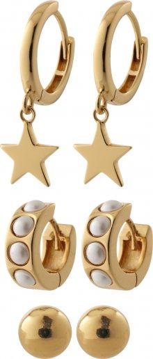 Orelia Sada šperků \'Chunky pearl and star ear party\' zlatá / perlově bílá