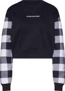 Calvin Klein Jeans Mikina \'BUFFALO CHECK\' světle šedá / černá