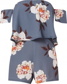 Missguided Overal \'GREY FLORAL BARDOT PLAYSUIT\' šedá