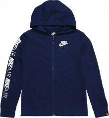 Nike Sportswear Mikina s kapucí tmavě modrá / bílá