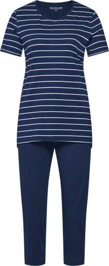 SCHIESSER Pyžamo noční modrá / bílá