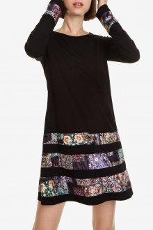 Desigual černé šaty Vest Paloma s barevnými motivy - XS