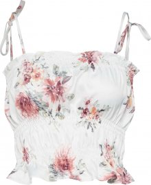 Missguided Top \'Floral Satin Cami\' růžová / bílá