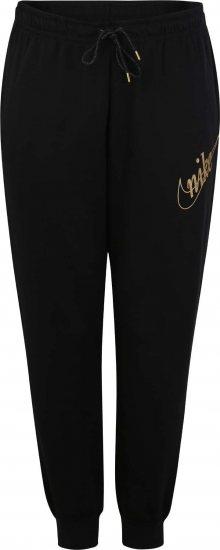 Nike Sportswear Kalhoty \'W NSW PANT FLC GLITTER PLUS\' zlatá / černá