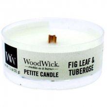 WoodWick Aromatická malá svíčka s dřevěným knotem Fig Leaf & Tuberose 31 g