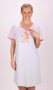 Dámská noční košile mateřská Vienetta Secret Méďa s dárkem   šedá/mentolová   S
