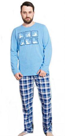 Pánské pyžamo dlouhé Vienetta Secret Kamasutra | světle modrá | 3XL