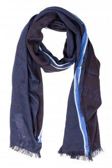 Calvin Klein tmavě modrý šátek Woven Runner Logo Scarf Navy