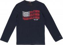 TOMMY HILFIGER Tričko \'Tommy Flag L/S\' tmavě modrá / červená / bílá