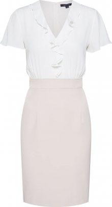 COMMA Košilové šaty béžová / bílá
