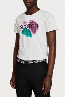 Scotch & Soda světle šedé pánské tričko Painted Artwork - M