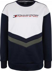 Tommy Sport Sportovní mikina \'BLOCKED TERRY CREW L\' marine modrá / tmavě zelená / bílá