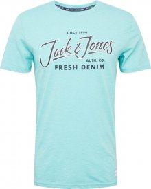 JACK & JONES Tričko \'BEAMS TEE\' tyrkysová / tmavě modrá